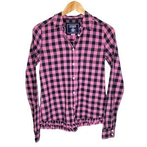 VS Pink Button Down Collared Shirt Small Black